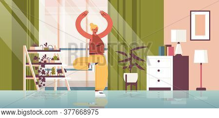 Woman Practicing Yoga At Home Girl Standing In Tree Pose Fitness Training Healthy Lifestyle Sport Co