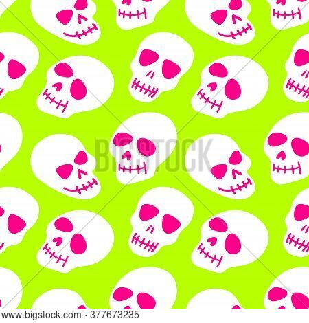 Seamless Pattern Of A White Skull On A Light Green Background. Bright Pattern Of The Skull. Colorful