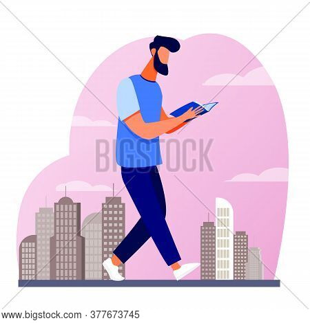 Man Reading Book While Walking In City. Student Doing Homework On Run Flat Vector Illustration. Stud