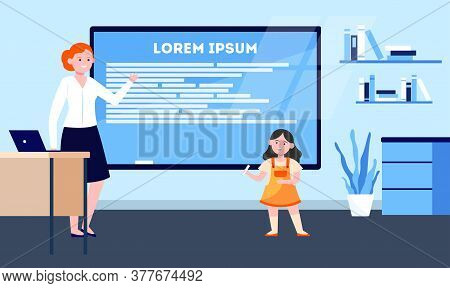 Cute Schoolgirl Giving Report At Class Blackboard. Primary School Pupil, Teacher Flat Vector Illustr