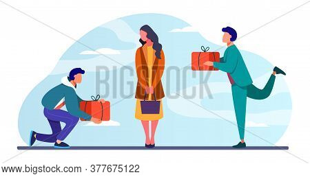 Young Woman Getting Gifts From Adorers. Presents, Admirers, Rivals In Love Flat Vector Illustration.