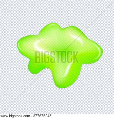 Glitter Slime Dripping Isolated On Transparent Background. Glossy Goo Green Slime Blots. Realistic R