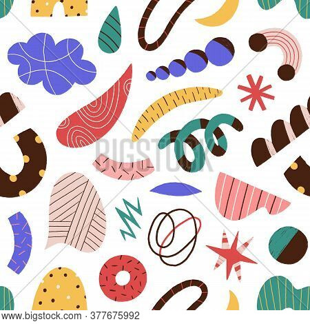 Abstract colorful doodle scrawl seamless pattern. Trendy elements and objects - curves, dots, spots, stars, scribbles vector flat illustration. Decorative cute geometric shapes