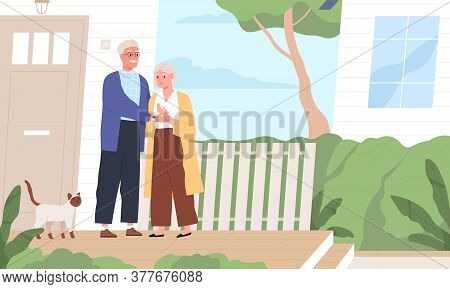 Elderly Couple Hugging Standing Together On Porch Of Countryside House Vector Flat Illustration. Age