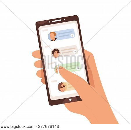 Human Hand Holding Smartphone With Dialogue App On Screen Vector Flat Illustration. Person Chatting,