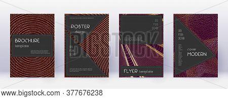 Black Brochure Design Template Set. Gold Abstract Lines On Bordo Background. Actual Brochure Design.