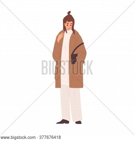Trendy Woman In Coat And Warm Sweater Vector Flat Illustration. Female Standing With Classy Handbag