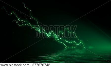 Abstract Realistic Nature Lightning Thunder Background . Bright Curved Line On Isolated Texture Over