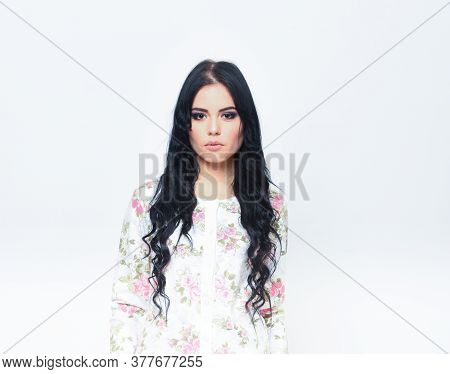 Sexy Woman In White Cardigan With Flowery Pattern.