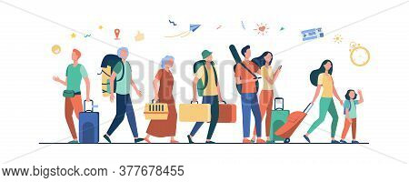 Group Of Tourists With Suitcases And Bags Standing In Airport. Families, Elderly Couples Travelling