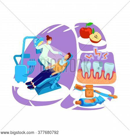 Dentist Visit Flat Concept Vector Illustration. Oral Hygiene. Clinic Visit. Healthy Teeth. Doctor Wi