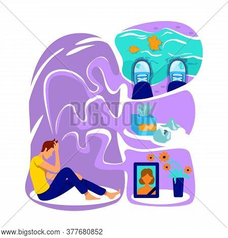 Depression Flat Concept Vector Illustration. Mental Health Trouble. Bad Mood. Upset Form Grief. Dist