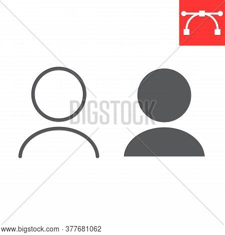 User Profile Line And Glyph Icon, Ui And Button, Account Sign Vector Graphics, Editable Stroke Linea