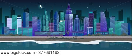 Night City Flat Color Vector Illustration. Seaside Skyline. Nighttime Metropolis 2d Cartoon Cityscap