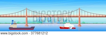 City Harbor Flat Color Vector Illustration. Seaside Metropolis 2d Cartoon Cityscape With Skyscrapers