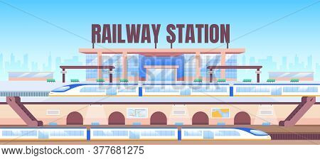 Railway Station Banner Flat Vector Template. Intercity Express, Metro Brochure, Booklet One Page Con