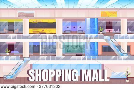 Shopping Mall Banner Flat Vector Template. Modern Shopping Center Brochure, Booklet One Page Concept