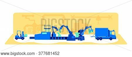 Plant Production Process Flat Concept Vector Illustration. Manufacturing With Automated Machinery. F