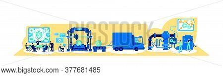 Digital Transformation Flat Concept Vector Illustration. Production Machinery And Workforce. Process