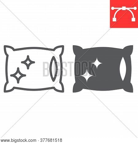 Pillow Cleaning Line And Glyph Icon, Dry Cleaning And Laundry, Pillow Sign Vector Graphics, Editable