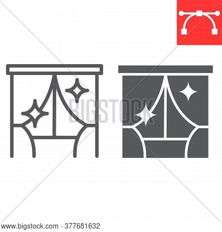 Curtain Cleaning Line And Glyph Icon, Dry Cleaning And Wash, Curtain Sign Vector Graphics, Editable