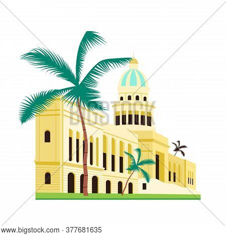 Cuba Capitol Building Flat Color Vector Object. Cuban Famous Landmarks And Sightseeing Places. City