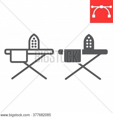 Ironing Line And Glyph Icon, Steam And Laundry, Iron Sign Vector Graphics, Editable Stroke Linear Ic