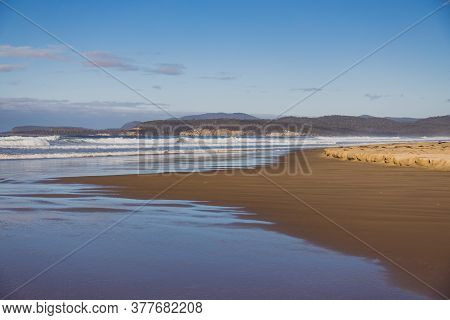 Pristine Untouched Australian Beach In Marion Bay In Tasmania With No People