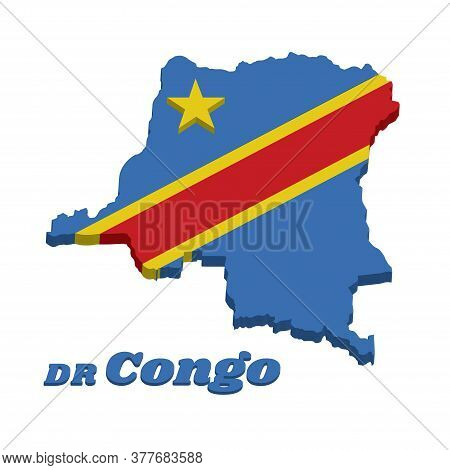 3d Map Outline And Flag Of Dr Congo, Sky Blue Flag, Adorned With A Yellow Star In The Upper Left Can