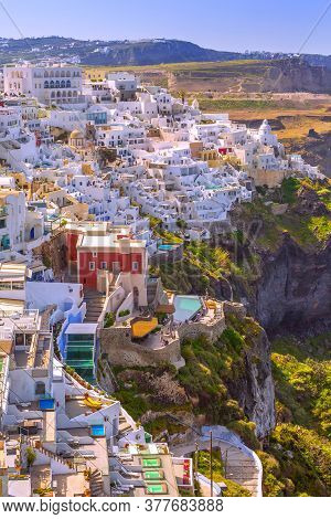 Fira Aerial Panorama, Capital Of Greek Aegean Island, Santorini, With Orthodox Metropolitan Cathedra
