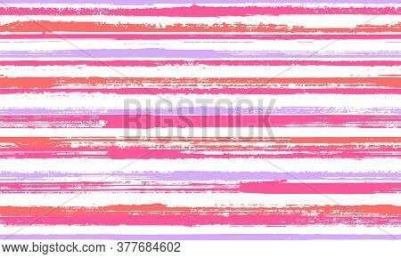 Watercolor Handdrawn Parallel Lines Vector Seamless Pattern. Modern Kids Clothes Fabric Design. Retr