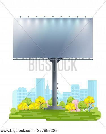 Blank Billboard Template On Cartoon City Background. Advertise Empty Billboard Mockup. Outdoor Ad Bo