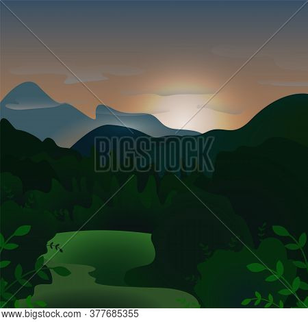 Evening Landscape In The Misty Mountains. Image Of An Outdoor Landscape In The Mountains Dark Green