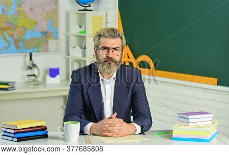 Handsome Hipster Mature Smart Educator. After Classes. Degree Certificate. Paperwork Documentary Fil