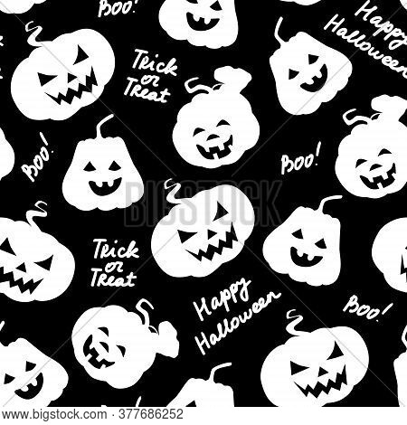 Halloween Seamless Pattern. Pumpkins White Silhouette With Carved Scary Smiling Faces And Lettering