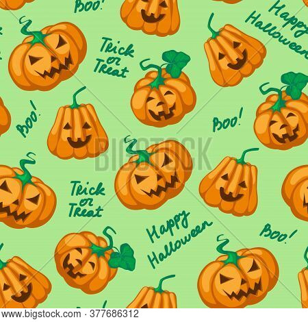 Halloween Seamless Pattern. Flat Orange Pumpkins With Carved Scary Smiling Faces And Black Lettering