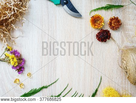 Floristry. Florist Workplace. Copy Space. Flower Delivery. Training In A Floristic School