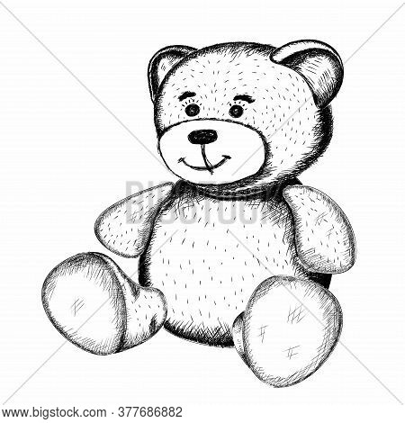 Cute Little Toy Teddy Bear In The Style Of Hand-drawn Pencils In Black On A White Background. Isolat