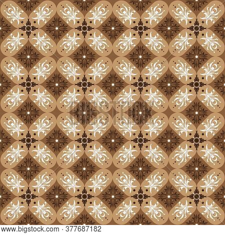 Unique Motifs On Parang Batik Design With Mocca Brown Color.