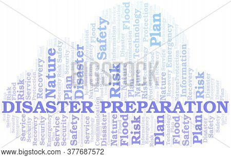 Disaster Preparation Typography Vector Word Cloud. Wordcloud Collage Made With The Text Only.