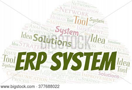 Erp System Typography Vector Word Cloud. Wordcloud Collage Made With The Text Only.