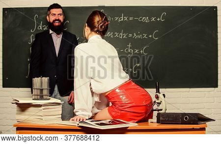 Schooling Makes Him Crazy. Bearded Man Continues His Schooling. Sensual Female Teacher Giving Privat
