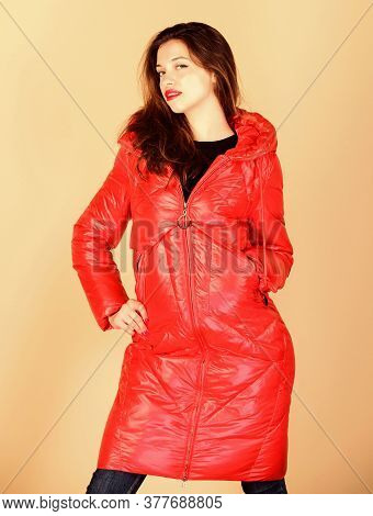 Comfortable Down Jacket. Red Color. Finding Right Winter Jacket Is Essential To Enjoyable And Bearab