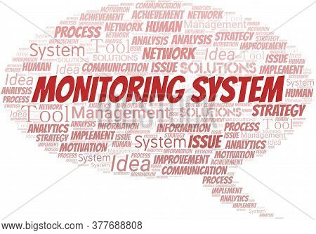 Monitoring System Typography Vector Word Cloud. Wordcloud Collage Made With The Text Only.