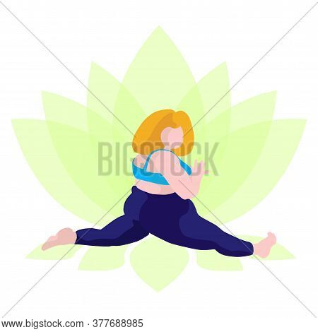 A Full Girl Does Yoga On A Lotus Background. Vector Illustration Of A Girl Who Sits On A Twine, In A