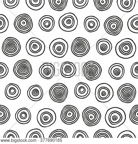 Doodle Dots Seamless Pattern. Sketchy Hand Drawn Graphic Print. Black And White Dotted Background. G