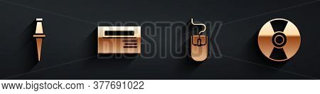 Set Push Pin, Business Card, Computer Mouse And Cd Or Dvd Disk Icon With Long Shadow. Vector