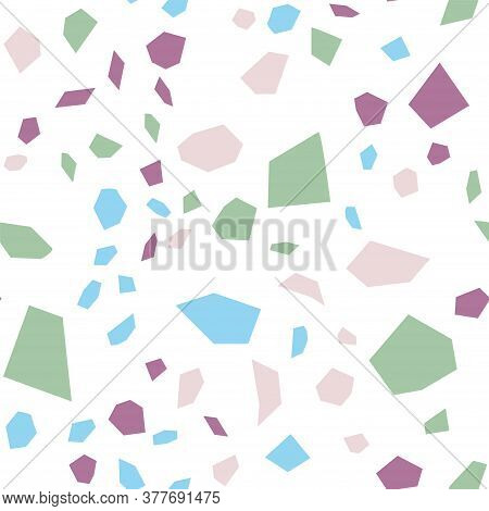 Blue And White Terrazzo Tile Vector Seamless Pattern. Colorful Terrazzo Wall Illustration. And Red Q