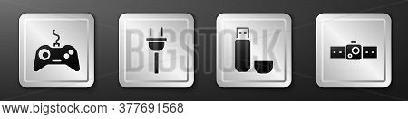Set Gamepad, Electric Plug, Usb Flash Drive And Smartwatch Icon. Silver Square Button. Vector