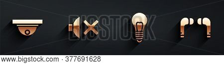 Set Motion Sensor, Speaker Mute, Light Bulb With Concept Of Idea And Air Headphones Icon With Long S